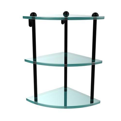 Three Tier Corner Glass Shelf, Matte Black - (In No Image Available