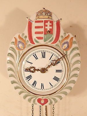 C1890-Small-Black-Forest-Porcelain-Front-Shield-Wag-On-The-Wall-Clock-8-1-2-H