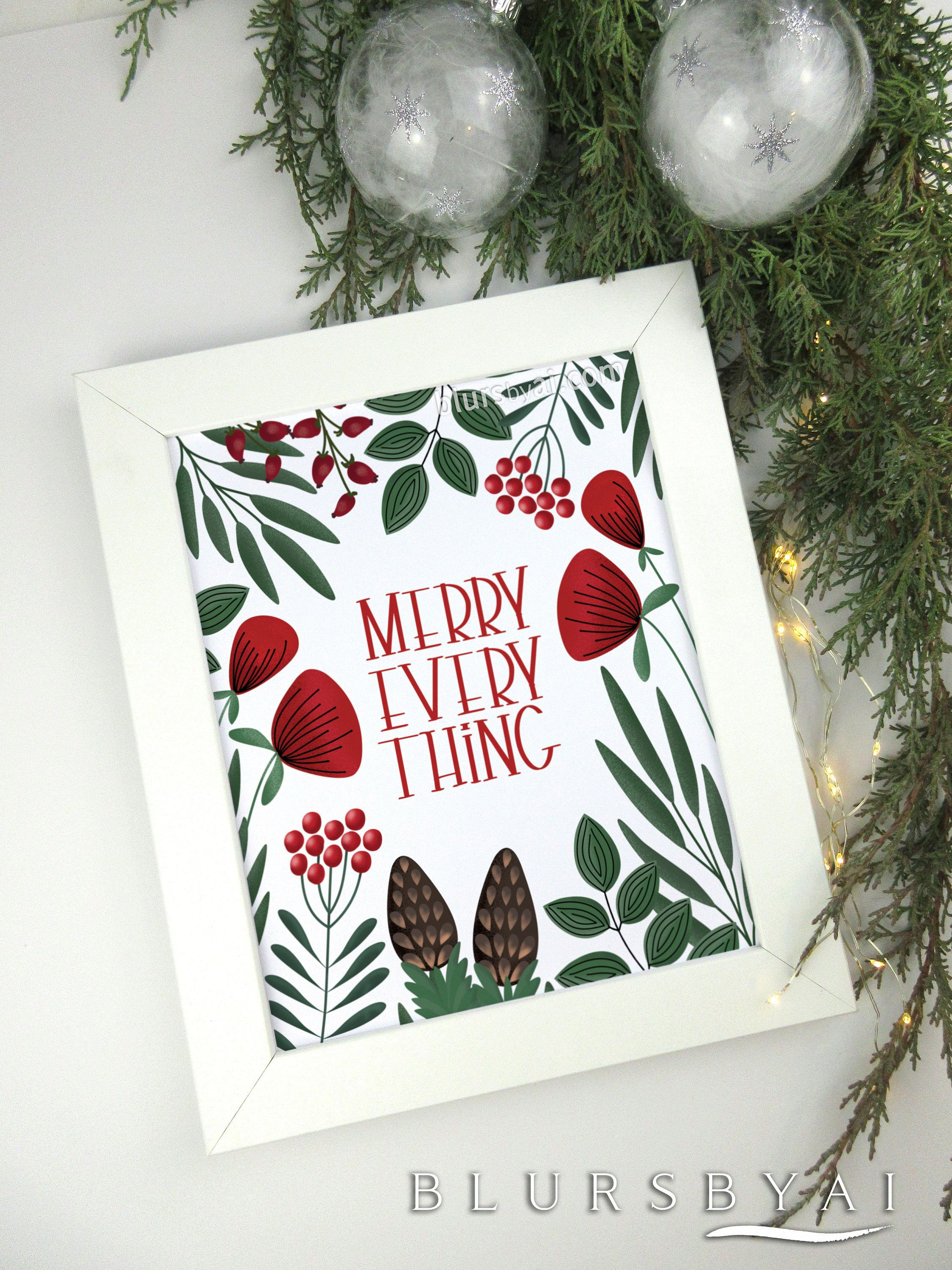 Christmas Decorations Christmas Printable Floral Scandinavian Style Mid Century Modern Merry Holiday Home Decor Floral Christmas Tree Christmas Decorations