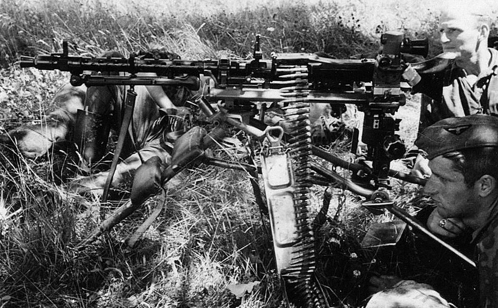 "Another Leibstandarte MG 34 on a tripod ""Lafette 34"" with telescopic"