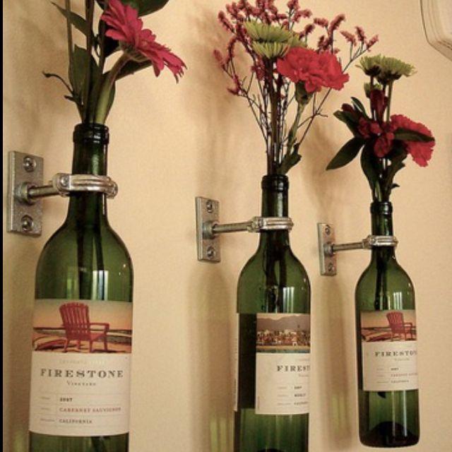 Wine bottle flower wall holder | For the Home | Pinterest | Wine ...
