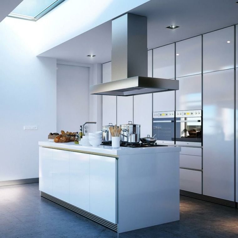 küchenidee mit insel perspektive bewegung licht