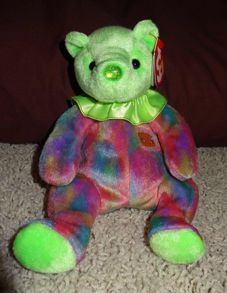 August Bear Beanie Baby TY Peridot Teddy Tags Retired 2001