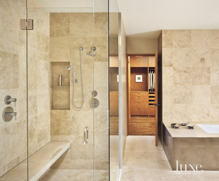 Contemporary Neutral Bathroom with French Limestone Walls ...