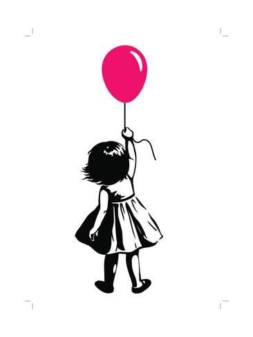Art Print: Vector Hand Drawn Black and White Silhouette Illustration of a Toddler Girl Standing with Pink Red by treemouse : 24x18in