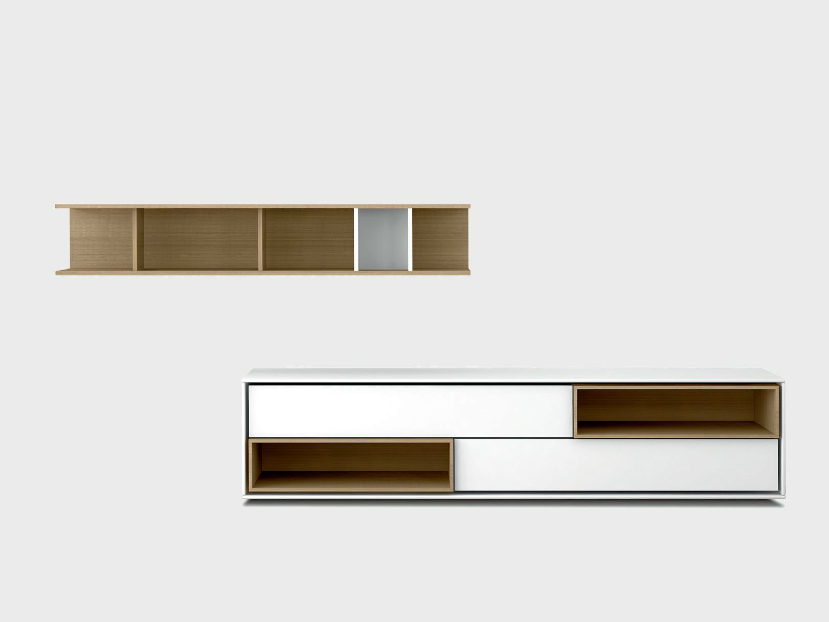 Lacquered Solid Wood Storage Wall AURA C4 2 By TREKU Design Angel Martí,  Enrique