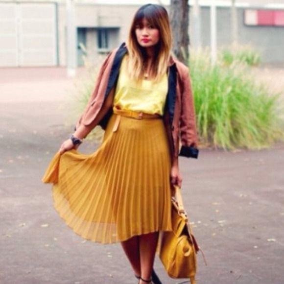 e4846d12c Dresses & Skirts - Pleated Mustard Yellow Midi Skirt | Like it ...
