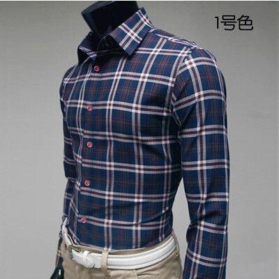 Slim Plaid Shirt Casual Male 100 Cotton Long Sleeve Plaid Shirt Big Size M Xxxl 19 Style In 2020 Long Sleeve Plaid Shirt Casual Shirts Casual Wear For Men