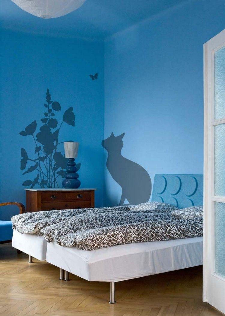 Wand Streichen Muster Ideen Schablone Katze Blumen Schlafzimmer