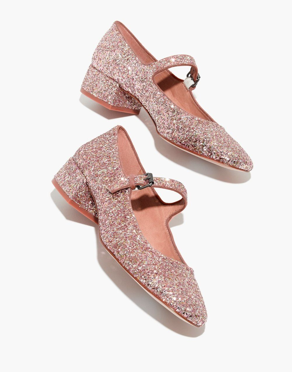 83aded9bd394 These sparkly shoes may be all you ever need for your forever holiday  wardrobe. The Delilah Mary Jane in glitter by Madewell
