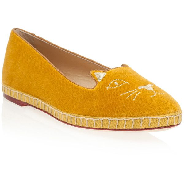 CHARLOTTE OLYMPIA Cotton Velvet Kitty Flats ($679) ❤ liked on Polyvore
