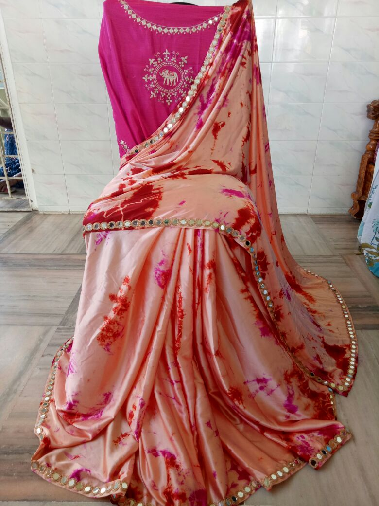 64c15058ec43d2 Satin shibouri sarees with mirror work lace and embroidery blouse ...