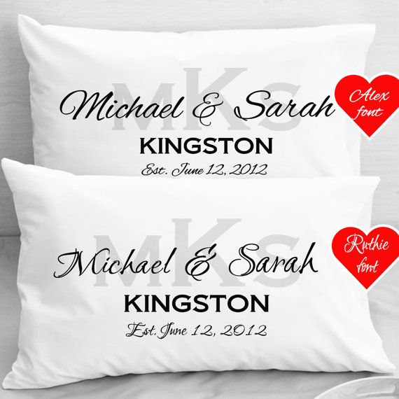 Gifts For Newly Wed Couple: Personalized Wedding Pillow Cases Anniversary Newlyweds