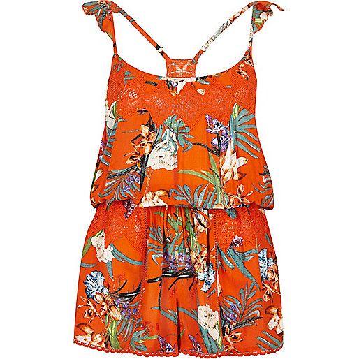 Orange tropical print romper