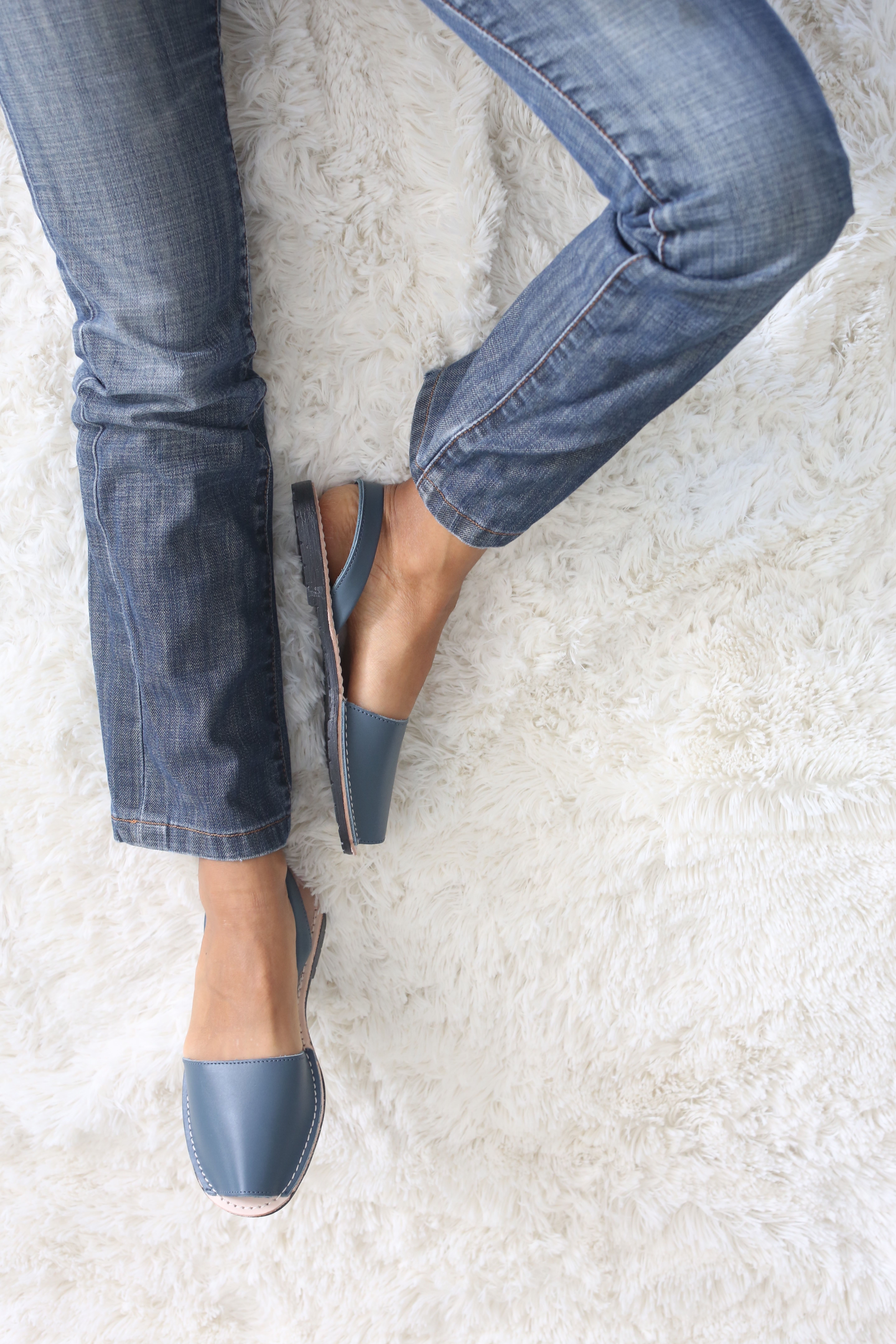 Petrol Blue Sandals Our classic sandals made in petrol blue color that pairs well with jeans. They are  crafted in soft napa leather and the outsoles are made of rubber.