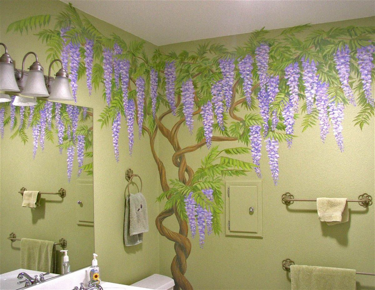 Wisteria vines painted on powder room walls in private residence. by Dan Seese