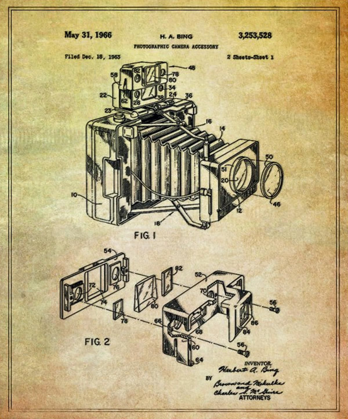 Camera accessory photos blueprints behind famous inventions blueprints behind famous inventions ny daily news malvernweather Choice Image