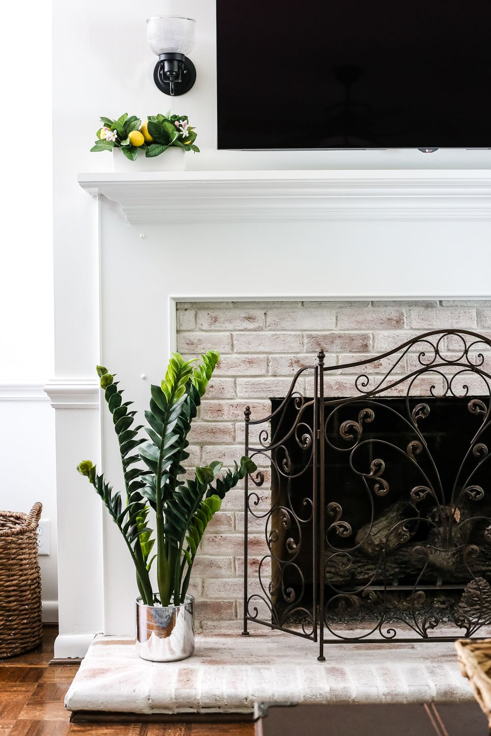 DIY Lime Washed Brick Fireplace Brick fireplace Bricks and Living