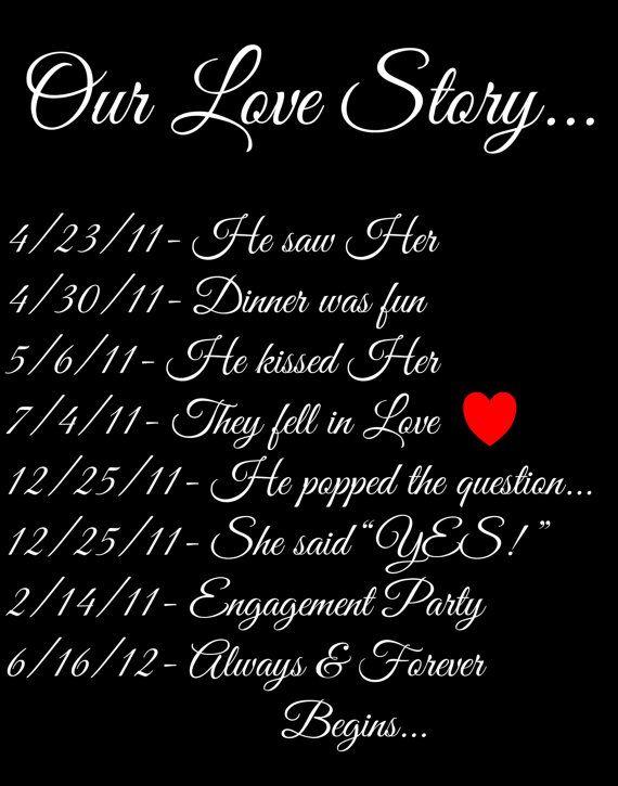 Printable Wedding Sign Custom, Our Love Story cute way to keep
