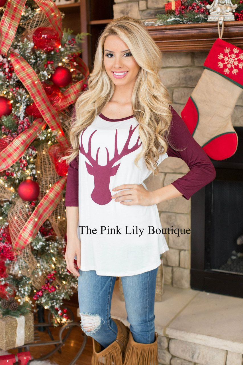 Reindeer Games Blouse - The Pink Lily Boutique