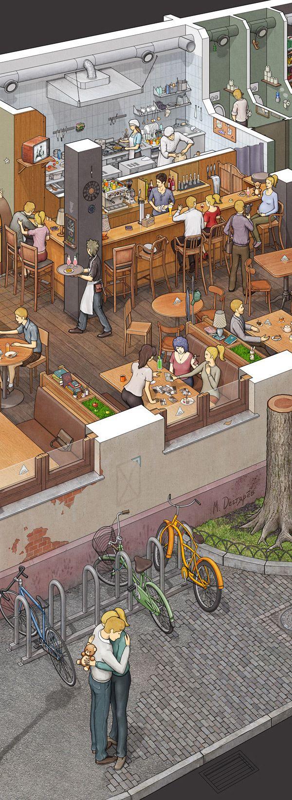 DeLorean Cafe by Max Degtyarev, via Behance