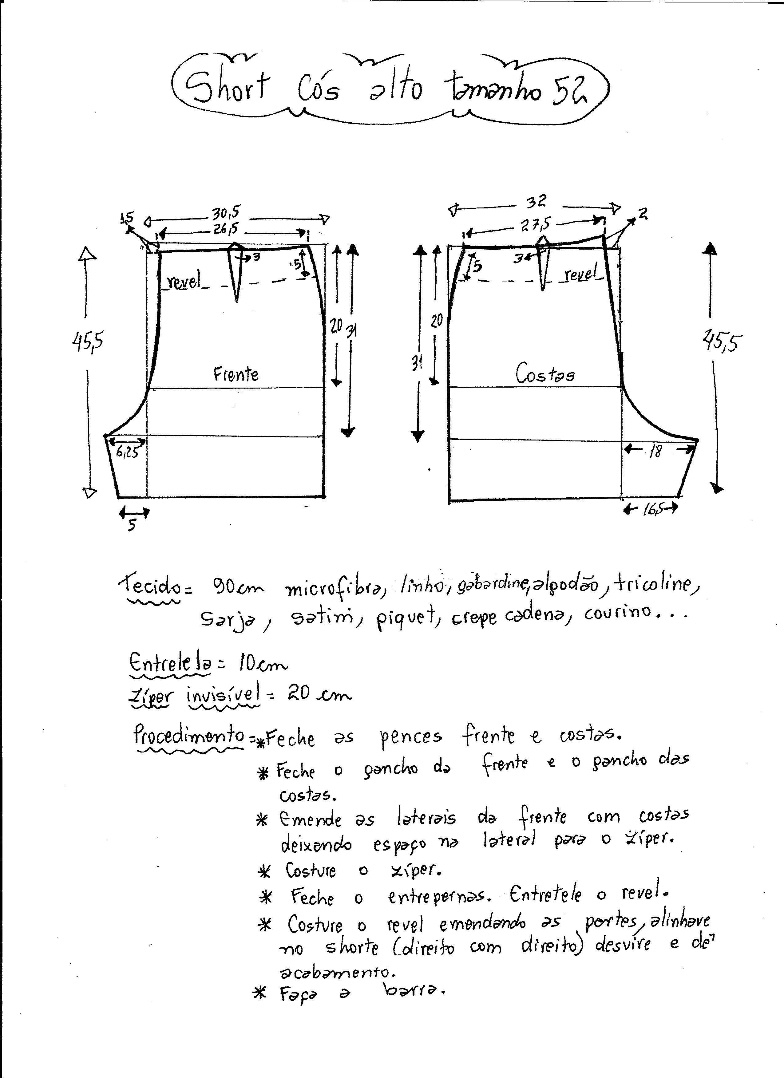 short-cintura-alta-52.jpg 2.550×3.507 pixels | Costura -Marlene ...