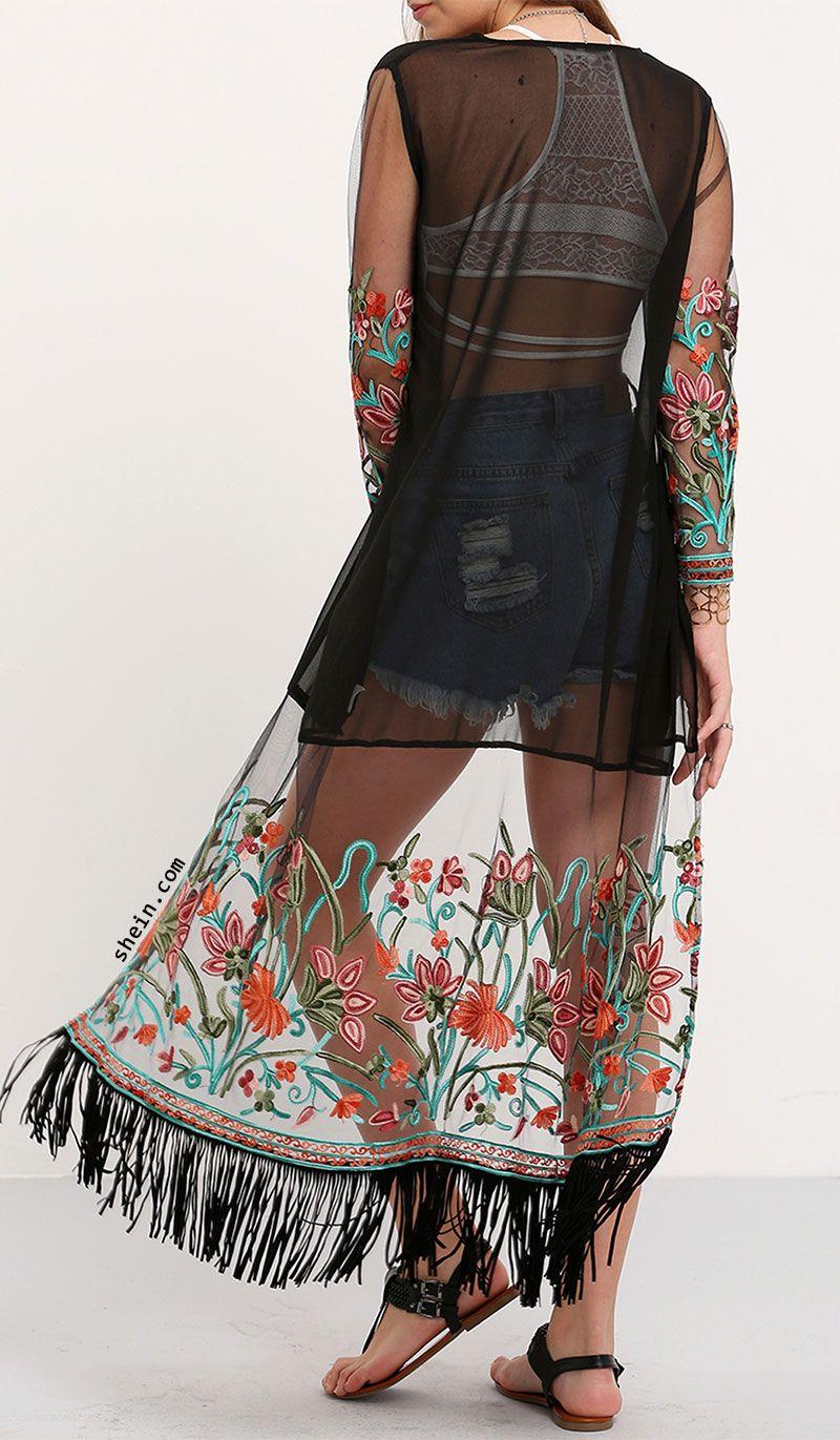 81d0baacb Multicolor Transparent Embroidered Fringe Long Kimono   Spotlights ...