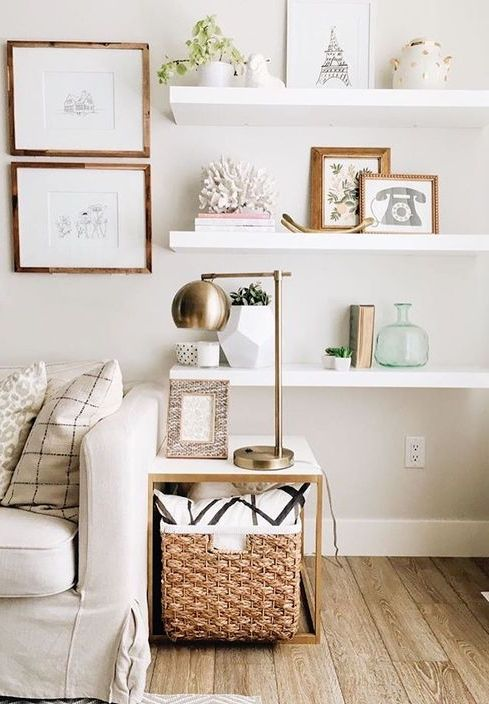 8 ways to decorate a blank wall blank walls living - Shelves design for living room ...