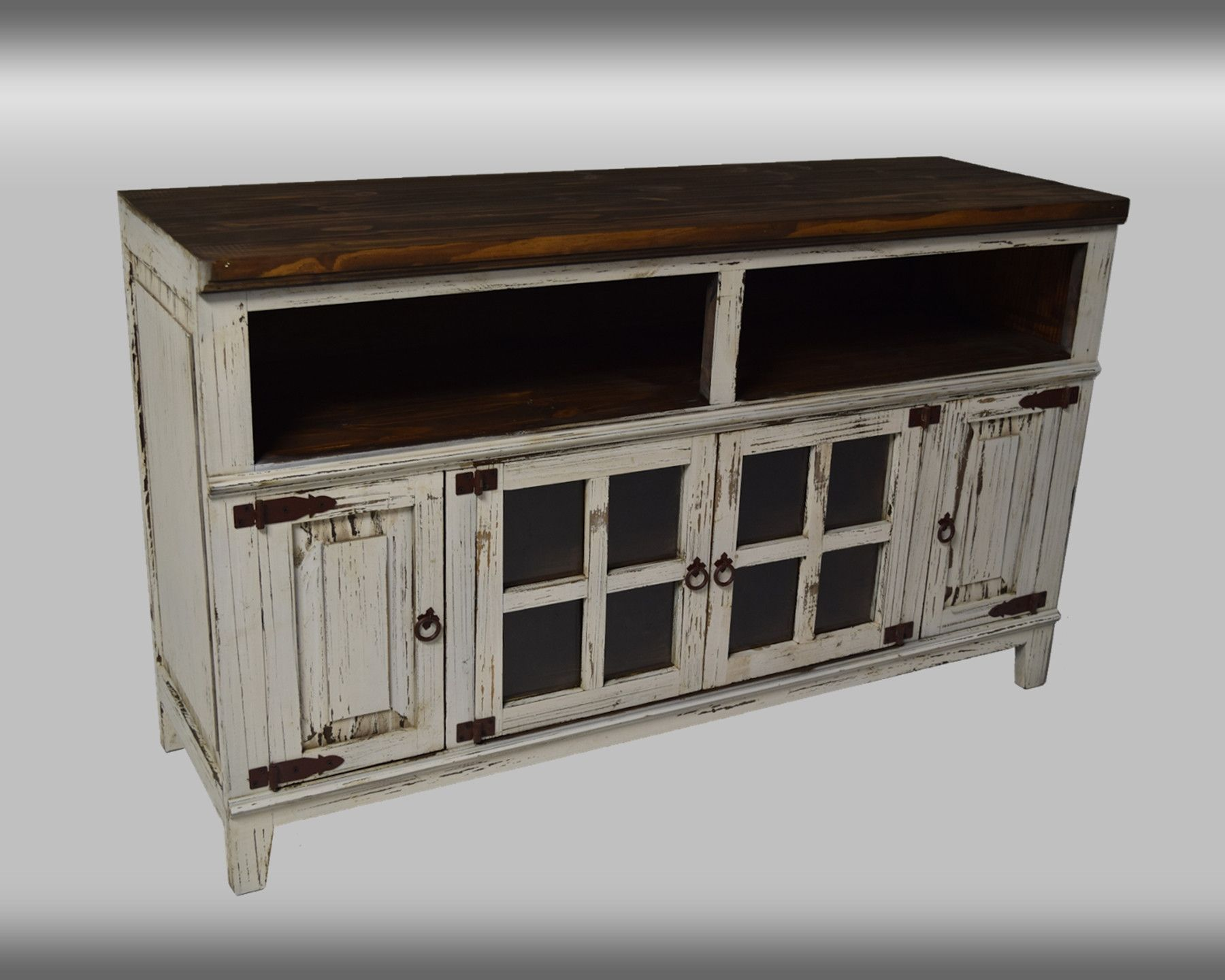 Rustic Collection Tv Console Antique Black Natural