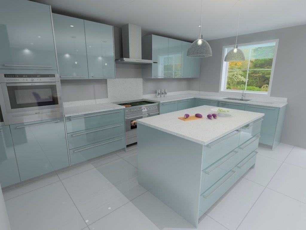 Ocean Blue gloss kitchen render | kitchen | Pinterest | Kitchen ...