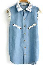 Light Blue Crochet Collar Sleeveless Denim Shirt $32.80