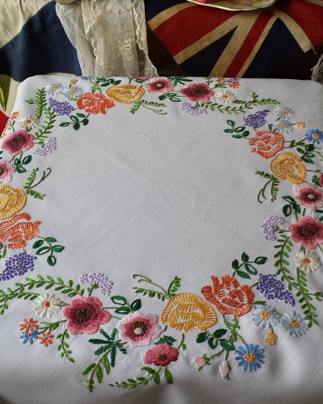 Big Vintage hand woven linen tablecloth flowers hearts cross stitch embroidery hand embroidered table cloth handmade cross stitching Folk