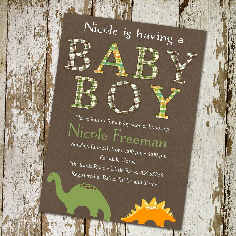 baby boy shower invitation, plaid with dinosaurs DIY Printable (item 1221c). $13.00, via Etsy.