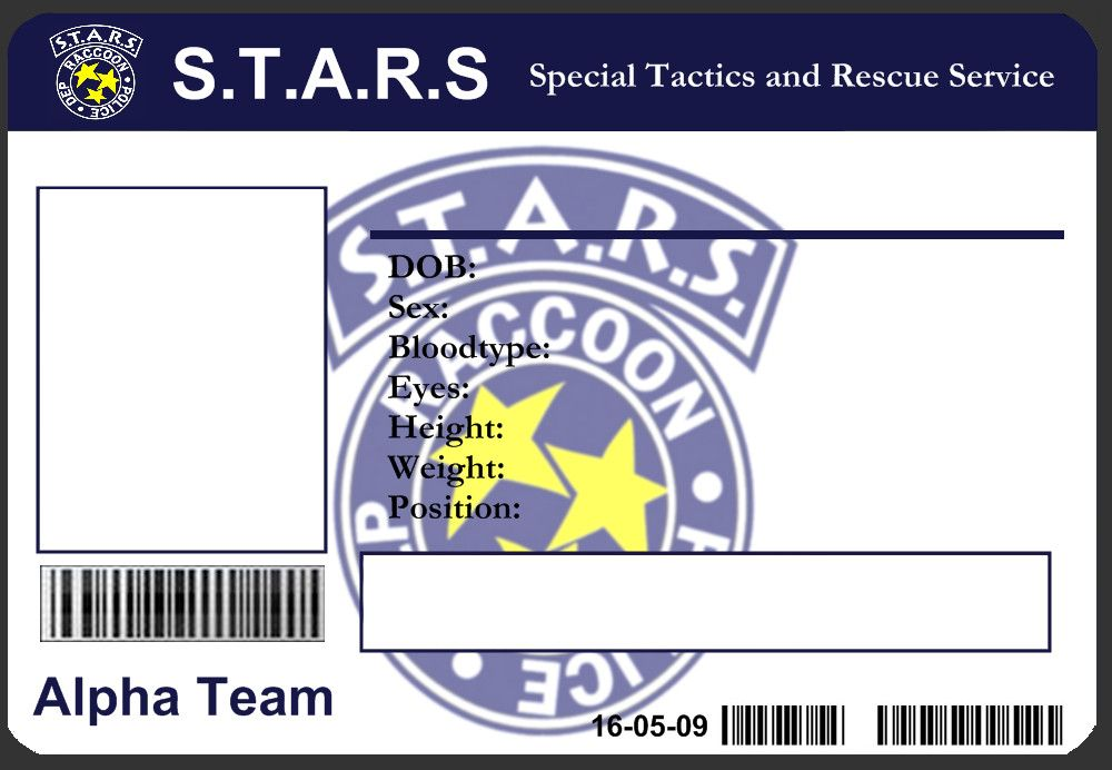 S.T.A.R.S ID Card Template by ~J-J-Joker on deviantART | Cosplay ...
