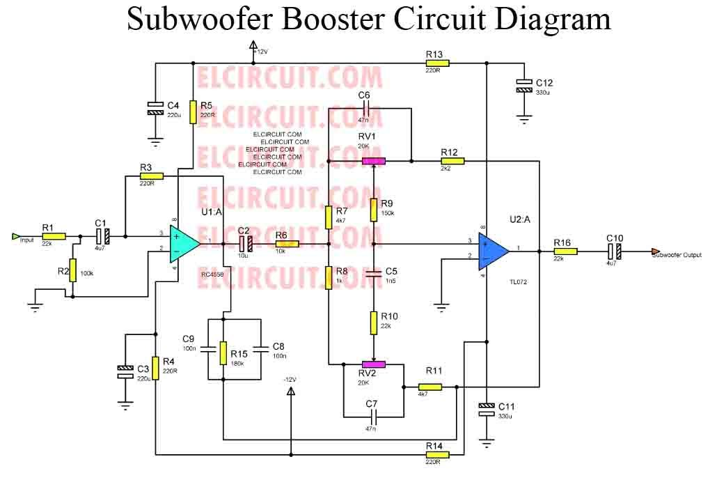 Subwoofer booster circuit with PCB Layout | technology | Pinterest