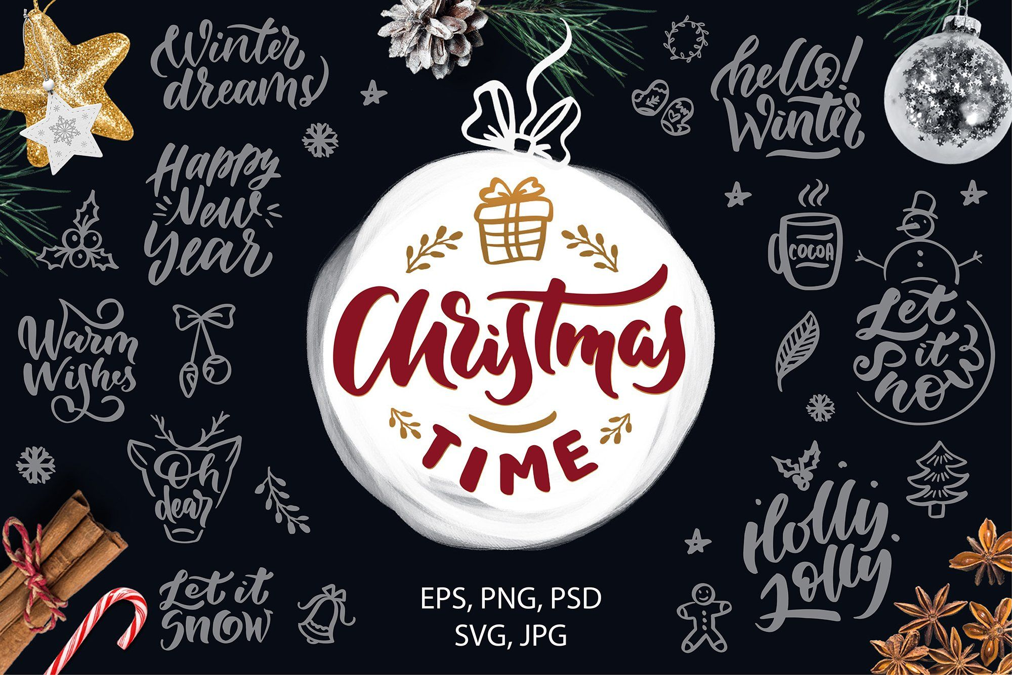 Christmas Time Lettering Pack Christmas Lettering Holiday Lettering How To Draw Hands