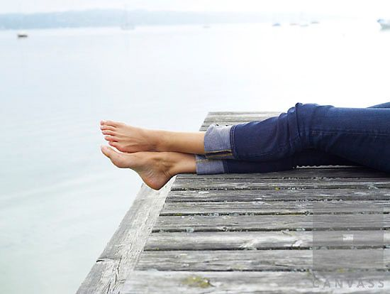 30 40 Years 50 60 55 Alone Barefoot Bavaria Bodies Of Water Calmness Caucasian Female Foot Jeans Jetty Lake Constance Laying Lie