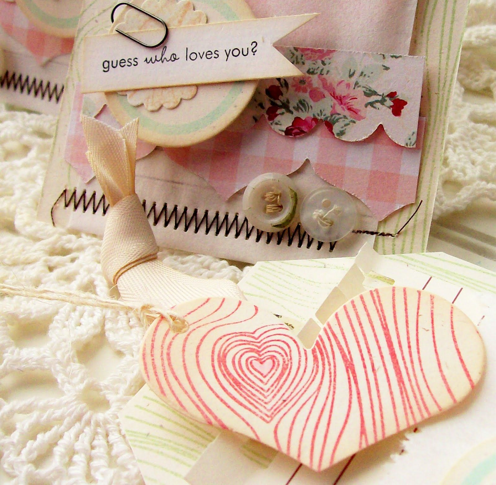 Card glassine bag heart tag creative paper trail cards