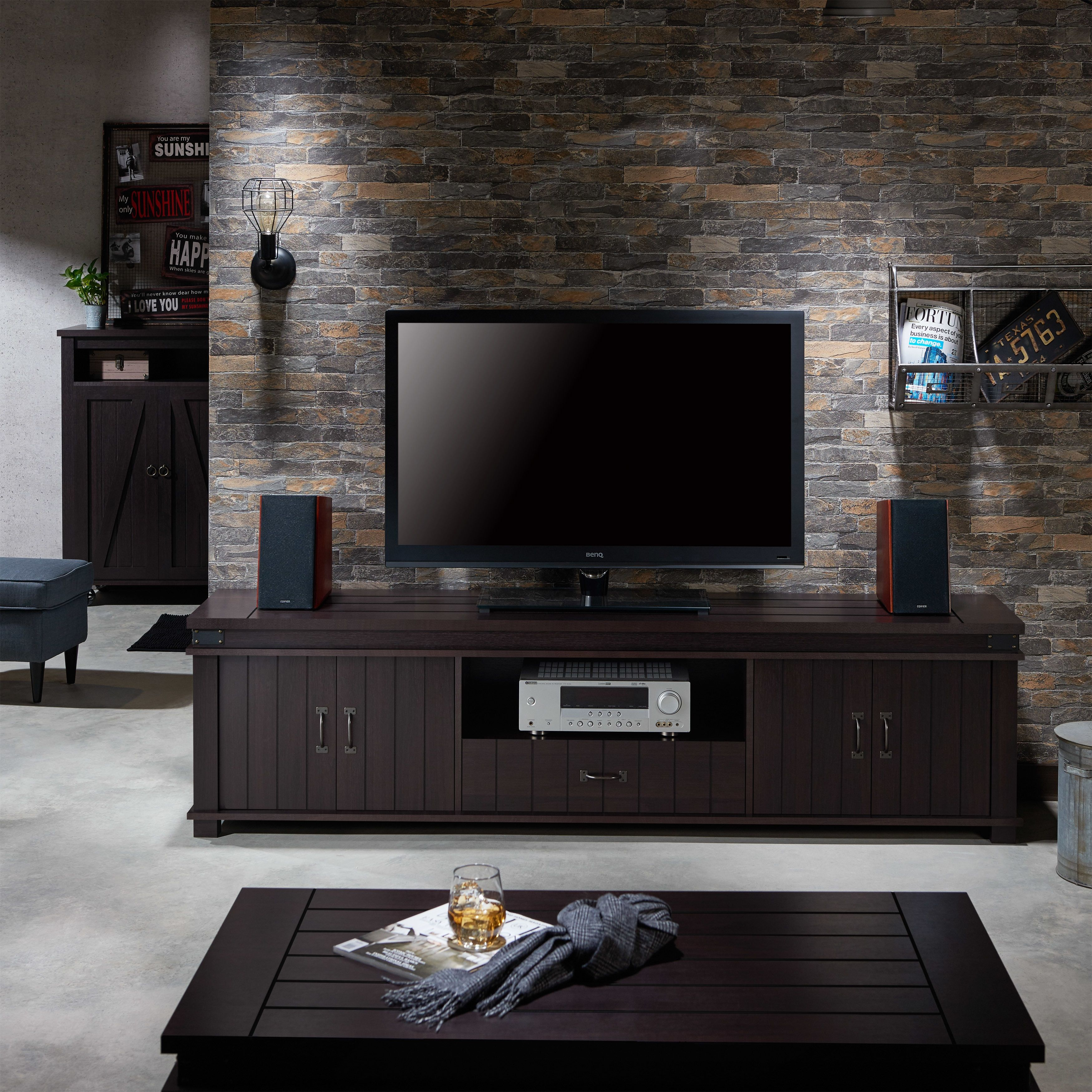 huge selection of ff4e4 d6ed2 Furniture of America Teglar Rustic Espresso 82-inch TV Stand ...