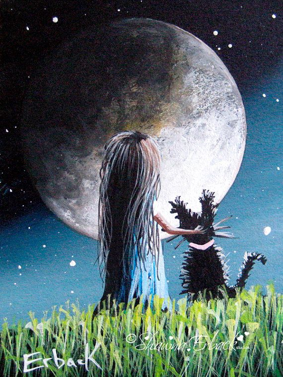 flying magic daughter Magic stars mother landscape fantasy ACEO PRINT