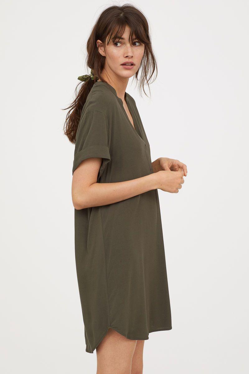 Green dress v neck  Vneck dress  Dark khaki green  LADIES  HuM VN  Skirt  Dress