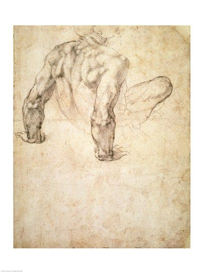 W.63r Study of a male nude, leaning back on his hands