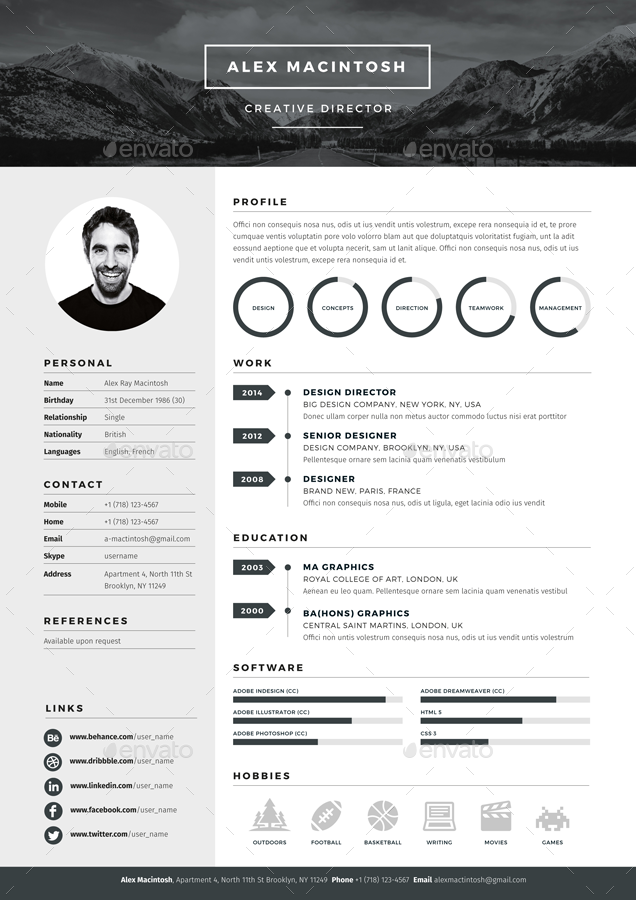 Graphic Design Resume Template Mono Resume Templatewwwikono 3 Page Templates 90 Icons
