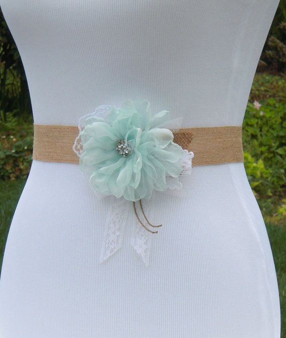 Mint Rustic Wedding Dress Sash Belt Mint Floral by SorellaSashes ...