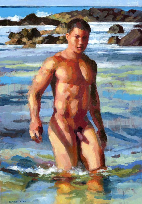 Nude men skinny dipping
