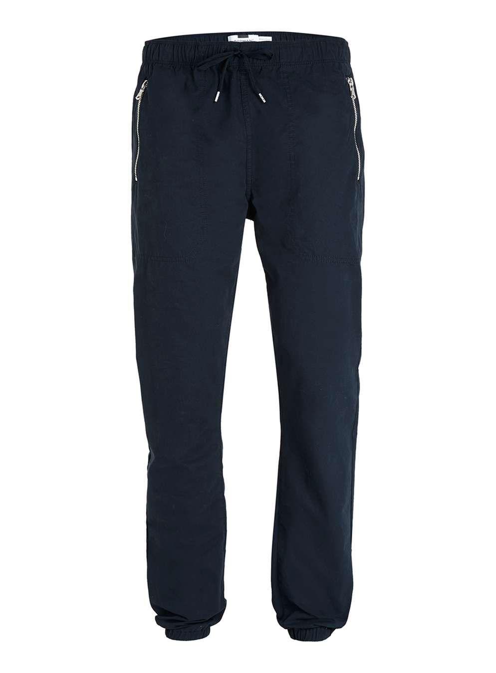 Navy Woven Skinny Joggers - Topman