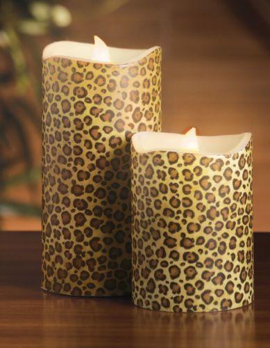 Leopard Print Flameless Pillar Candles