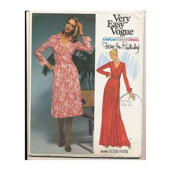 Diane Von Furstenberg Wrap Dress UNCUT Sewing Pattern Vogue 1549 ...