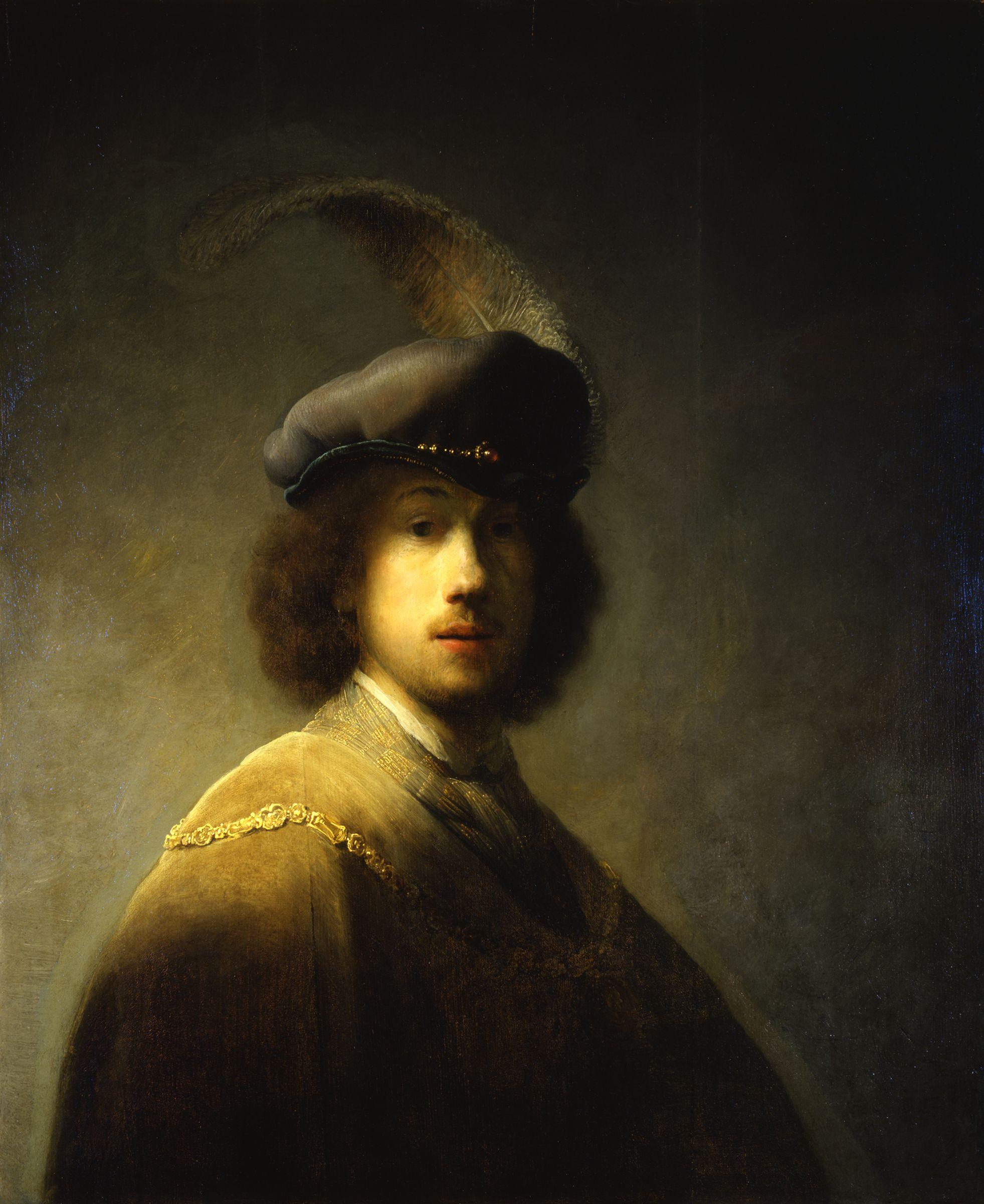 Rembrandt Harmenszoon van Rijn (Dutch 1606–1669) [Dutch Golden Age, Baroque] Self-portrait, 1629. Oil on panel, 89.7 x 73.5 cm. Isabella Stewart Gardner Museum, Boston.