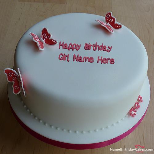 Write name on butterflies girly birthday cake happy birthday wishes birthday name cakes for - Write name on cake ...